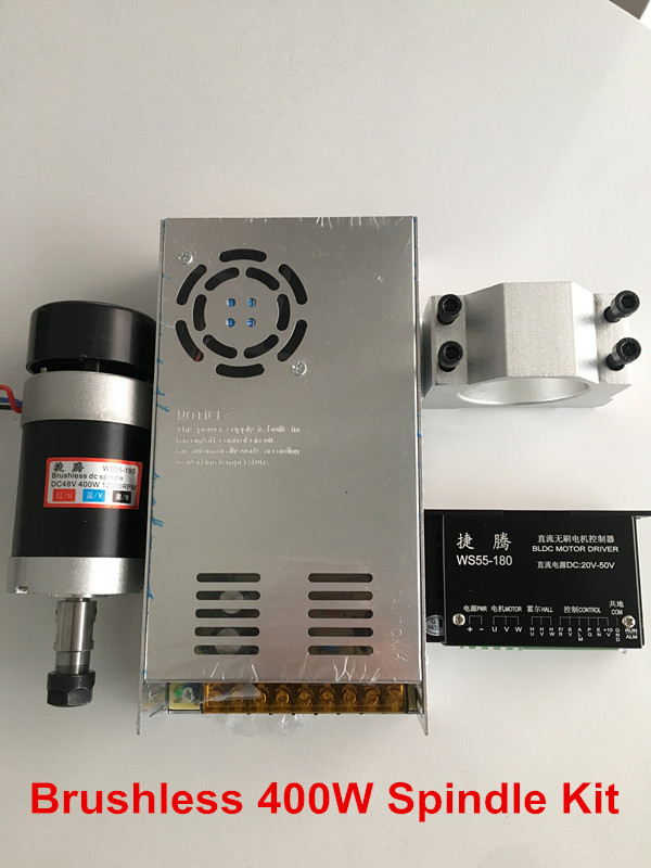 CNC Spindle Brushless 400W ER11 Collet Spindle Motor + Switching Power Supply + Stepper Motor Driver + 55MM Clamp er11 brushless dc spindle 500w 55mm clamp stepper motor driver power supply cnc cutters