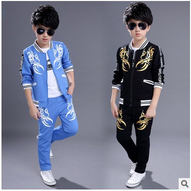kids boys sports suit big boys suit uniforms 2017 new sports children's suits boys and girls spring Baseball Jacket + Trousers