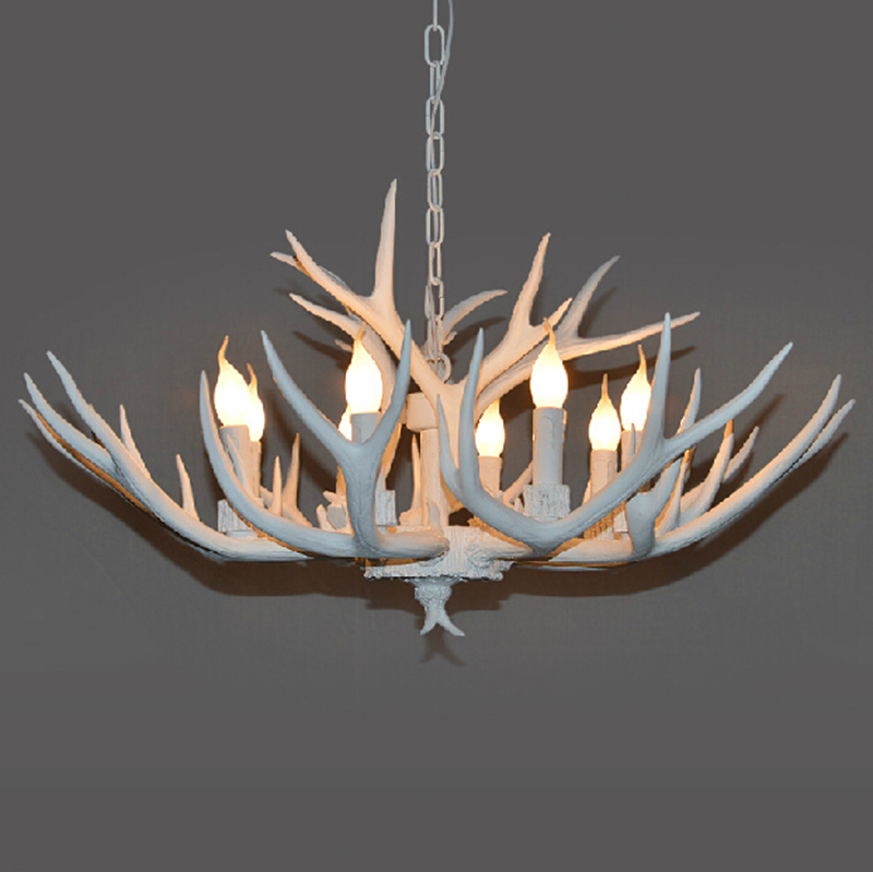 Europe country 468 heads french pendant light white resin deer europe country 468 heads french pendant light white resin deer horn antler lamp decoration in pendant lights from lights lighting on aliexpress aloadofball Images