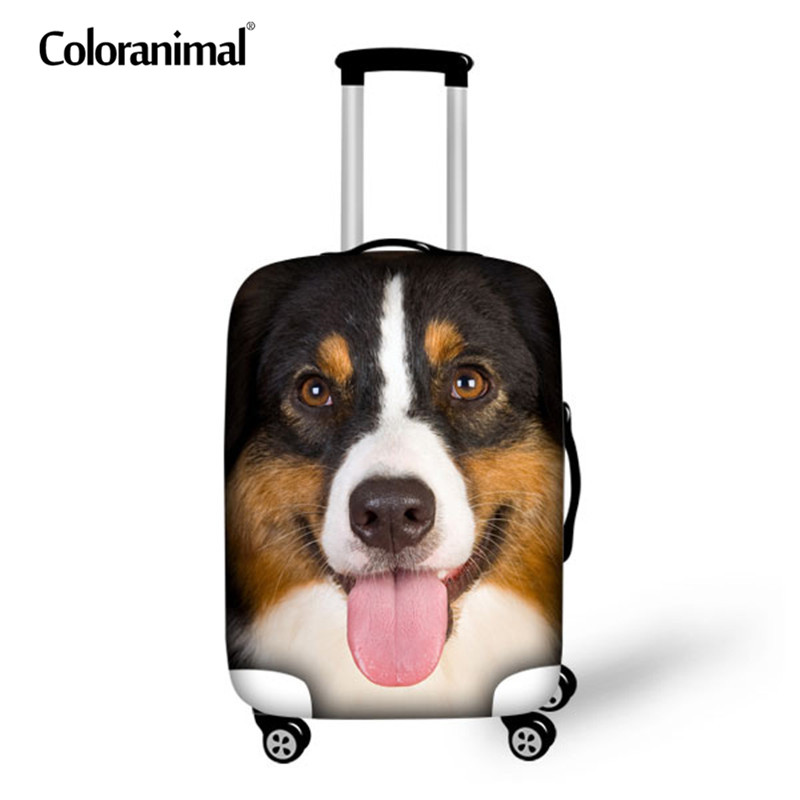 Coloranimal Trunk Case Bag 3D Cute Dog Print Women Men Suitcase Luggage Protectiver Cover Pug Dog Thick Luggage Cover 18-30 Inch