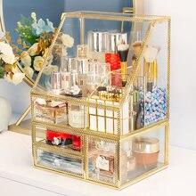 Nordic glass cosmetics storage box lipstick makeup brush dressing table skin care products shelf drawer