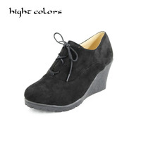 New Womens Scrub Surface Wedge Bootie Oxford High Heel Ankle Boot Shoes Fashion Platform Black High