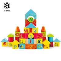 50ピース英語アルファベットビルディングブロックブナ木材品質赤ちゃん幼児教育インテリジェンスのおもち