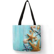 Ladies Shoulder Bag Blue Ocean Starfish Beach Sand Prints Tote Bag Linen Fabric Beautiful Casual Practical Handbag(China)