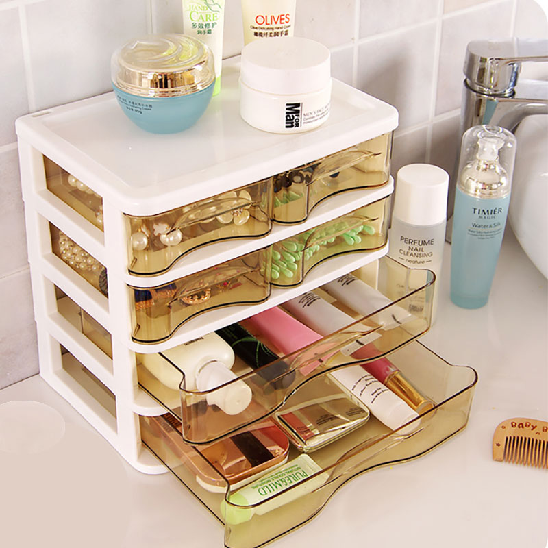New Arrival Storage Box Organizer Organizador Drawer Cosmetic Case Plastic Table Top Jewelry Rectangle Jewelry Box Glossy