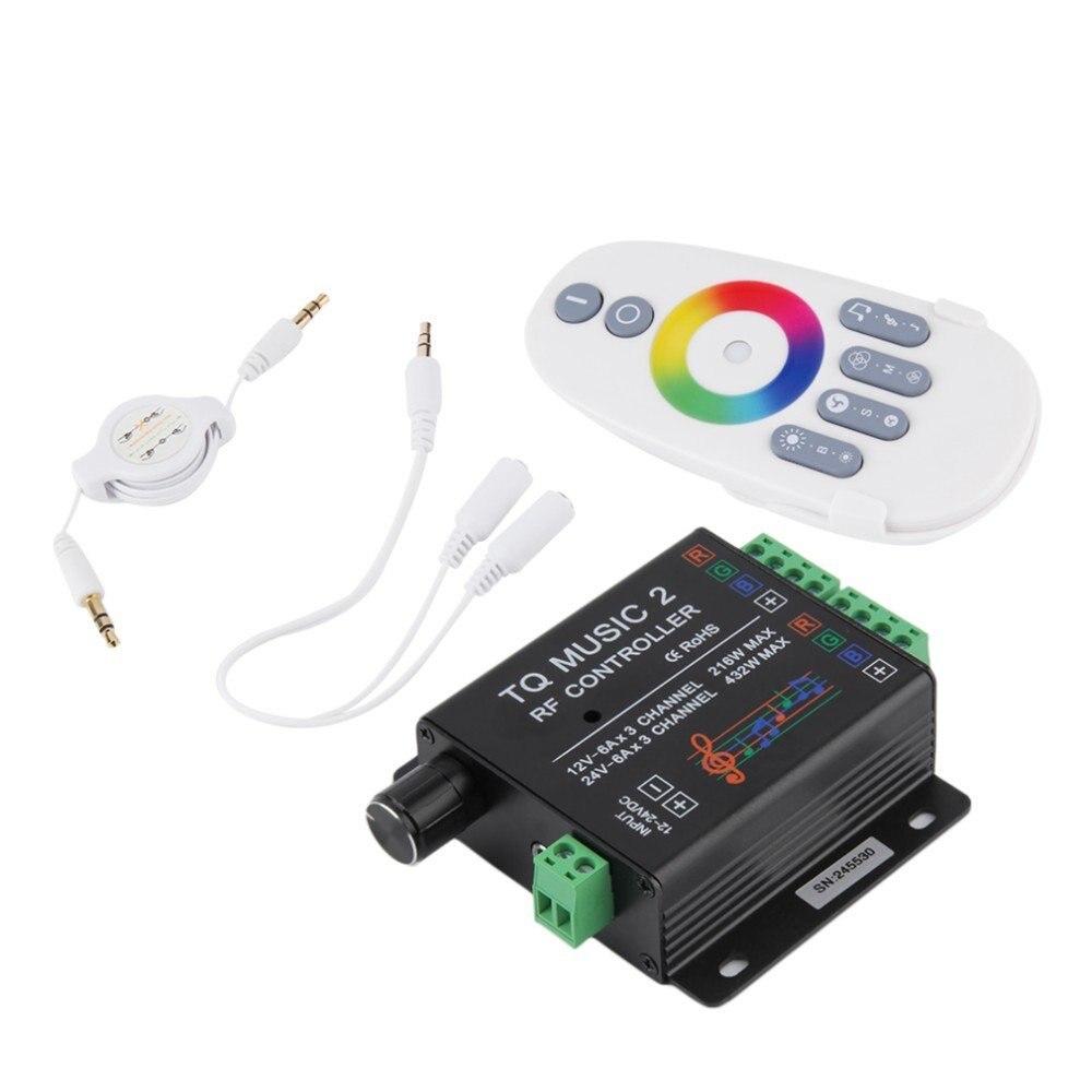 LED RGB Strip New TQ Music 2 Touch Controller RF Sensitivety Backlight RF Remote DC12V-24V 18A Audio 3.5mm Music Controller 0