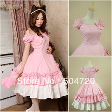 Freeship pink Cotton short sleeves Classic Sweet Lolita Dress victorian  dress cosplay dress Size US 6-26 XS-6XL V-913 2f181a42781a