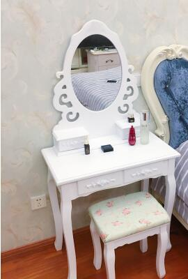 Small bedroom makeup table. Mini real wood white rural dressing table ...