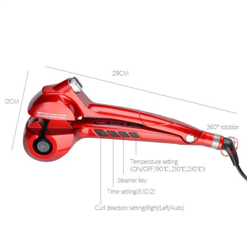 CkeyiN automatique Spray fer à friser en céramique vapeur cheveux bigoudi en céramique coiffure bigoudi LED numérique cheveux Curl rouleau Curling - 6