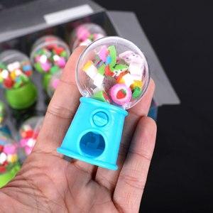 Image 4 - 12 יח\קופסא מיני מעוות ביצה חמוד פירות בעלי החיים בצורת גומי מחק סוכריות מכונת Kawaii כתיבה ספר סטודנטים מתנות