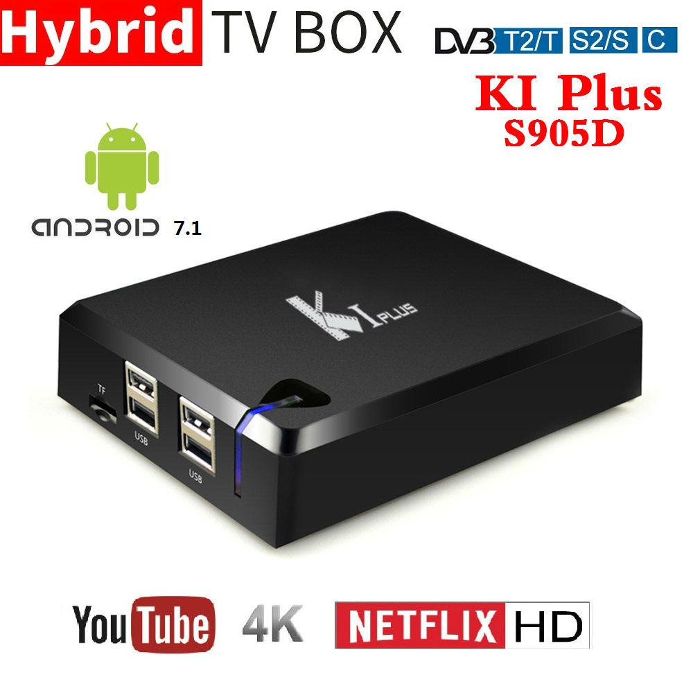2018 New K1 PLUS DVB T2 DVB S2 DVB C Android 7.1 TV BOX 4 in 1 Combo Amlogic S905D Quad Core KI PLUS Smart Set top Box 4K 1080P