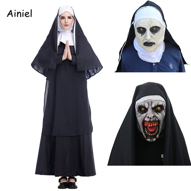 The Nun Costume Scary Mask For Women Black Long Skirt Nuns Cosplay