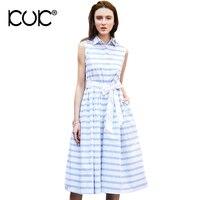 Kuk Shirt Dress Button Bow Evening Party Vestidos Femme Knee Length Sleeveless Summer Striped Dress A181