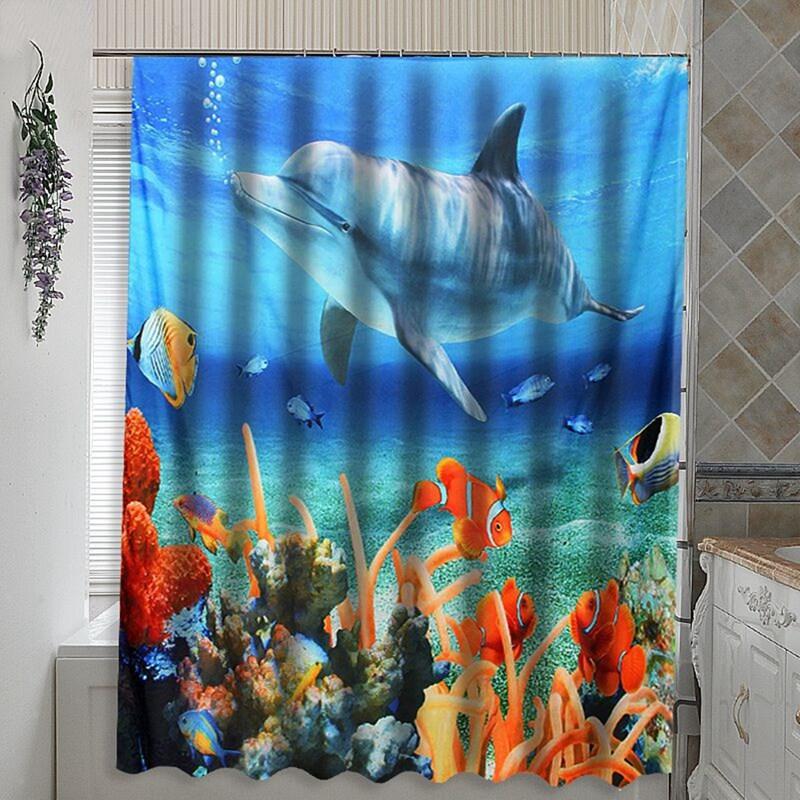 Captivating Bule 180*180CM 3D Dolphin Sea Fish PEVA Waterproof Shower Curtain Bathroom  Products Bath Curtain