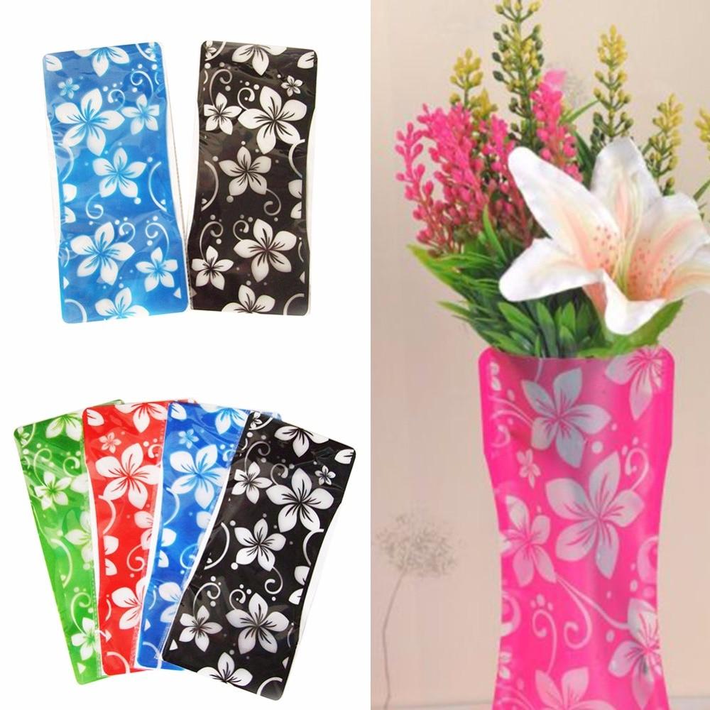 2Pcs Hot Plastic Unbreakable Foldable Reusable Vase Flower Home Decor Wholesale Random Color Pattern On Sale