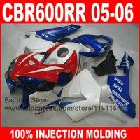 Custom paint Injection molding motorcycle fairings kit for HONDA F5 2005 2006 CBR 600RR 05 06 CBR600RR blue red HRC fairing set