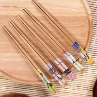 5 Pairs Handmade Tableware Chopsticks Tool Pack Gift Japanese Chopsticks Natural Sticks Style Bamboo Set for Kitchen Home Hotel