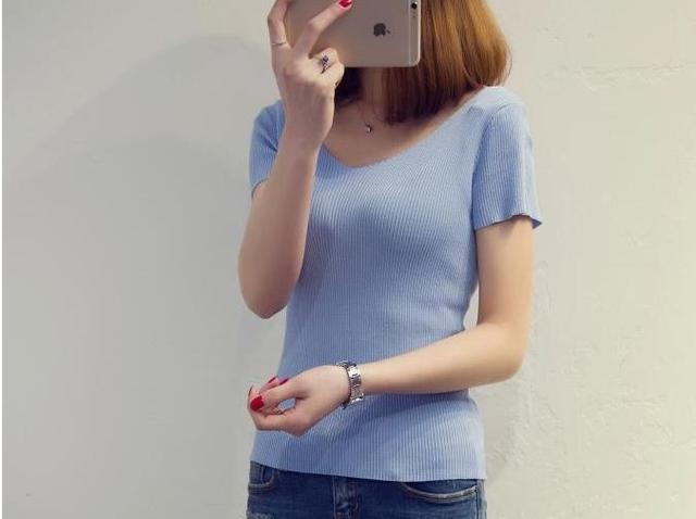 Woman autumn plus size V-Neck short solid Pullovers female summer hedging stretch sweaters lady spring thin slim sweater
