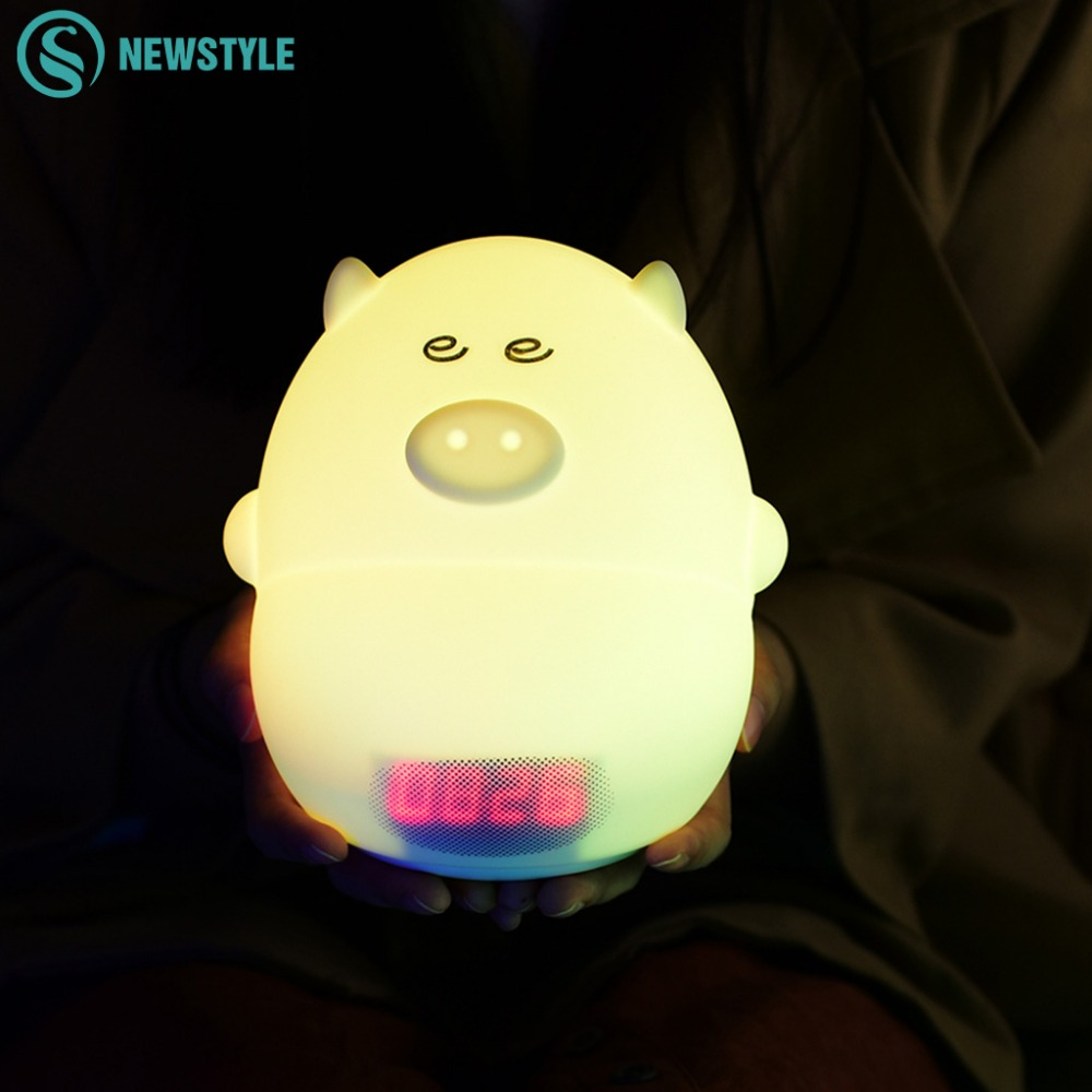 Pig shaped silicone led night light dc5v touch sensor light alarm clock children kids 1 2w - Timer night light for toddlers ...