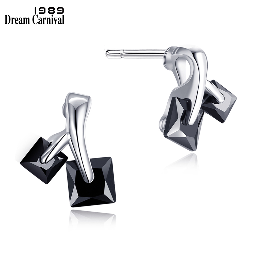 DreamCarnival 1989 Daily Fashion Square Crystals Stud Earrings for Women Office Jewelry Super Deal Sales Gifts Brincos de Botao