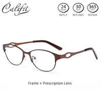 CALIFIT Lady Classic Glasses Women With Prescription Clear Lens Oval Metal Frame Computer Spectacles CR 39 Eyewear Brand Design