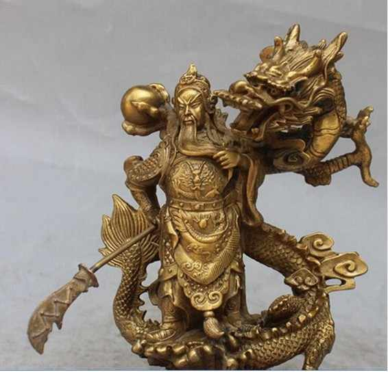 YM  308  Chinese Fengshui Guan Gong Yu Warrior God Sword Stand in Dragon Statue