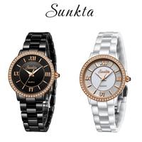SUNKTA Ceramic Quartz Women Watches Waterproof Diamond Rose Gold Watch Women Simple Fashion Dress Bracelet Clock Zegarek Damski