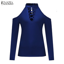 Sexy Women Turtleneck Off Shoulder Blouses Fashion Solid Hollow Out Slim Fit Shirts Tops