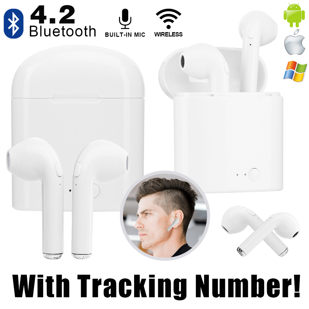 Mini Wireless Earphone V4.2 Bluetooth Earphones In-Ear Earbuds Headset with Charging Box Mic for iPhone 6 7 Samsung Xiaomi Sony цена
