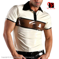 Short Sleeves Sexy Rubber undershirt Pull On Top Latex Tee Shrit Rubber Shirt Latex Polo Shirt Plus Size XXXL