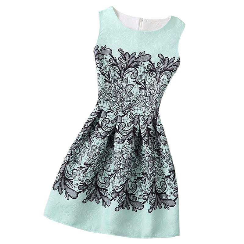 New A-Line dress for girls teenagers butterfly print sleeveless girl princess party dress 13 - 20 years 2017 Women's dress цена и фото