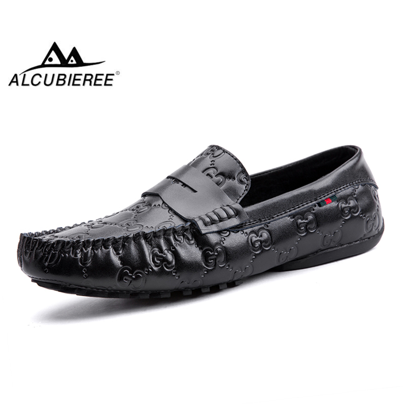 ALCUBIEREE Brand Stylish Penny Loafers Mens Leather Moccasins Summer Slip On Flats Driving Shoes High Quality Boat Shoes for Men casual high quality men s suede leather slip on loafers driving shoes fahion boat shoe mens handmade moccasins f40