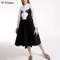 Luxury Brand 2017 Autumn Defined Waist Big Swing Patchwork Work Office Casual Shirt A-line Dress