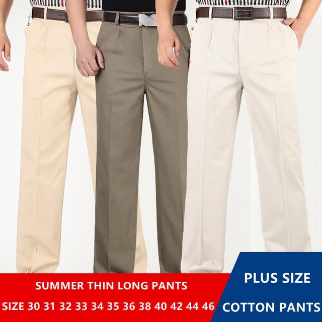 ชายกางเกงบางฤดูร้อนฝ้ายตรงกางเกงPlusขนาด 40 42 44 46 ธุรกิจHombre PantolonสีขาวBeigeสีเทาDarkกางเกงสีฟ้า