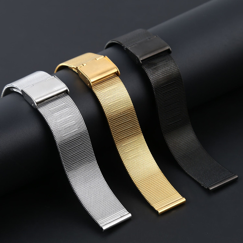 WatchBands 18mm/22mm/24mm Silver New Arrival Top Brand Fashion Stainless Steel Wrist Watch Band Strap