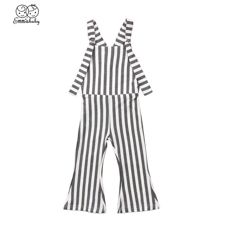 Emmababy 1 5Y Kids Baby Girl Vertical Striped Brace Flare