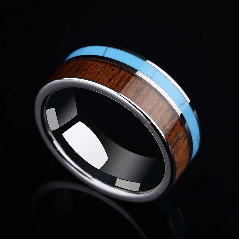 2017 trendy 8mm larghezza tungsten carbide band ring per l'uomo sposo Alta Lucido Intarsio Koa Wood e Blu Turchese Formato 7-11