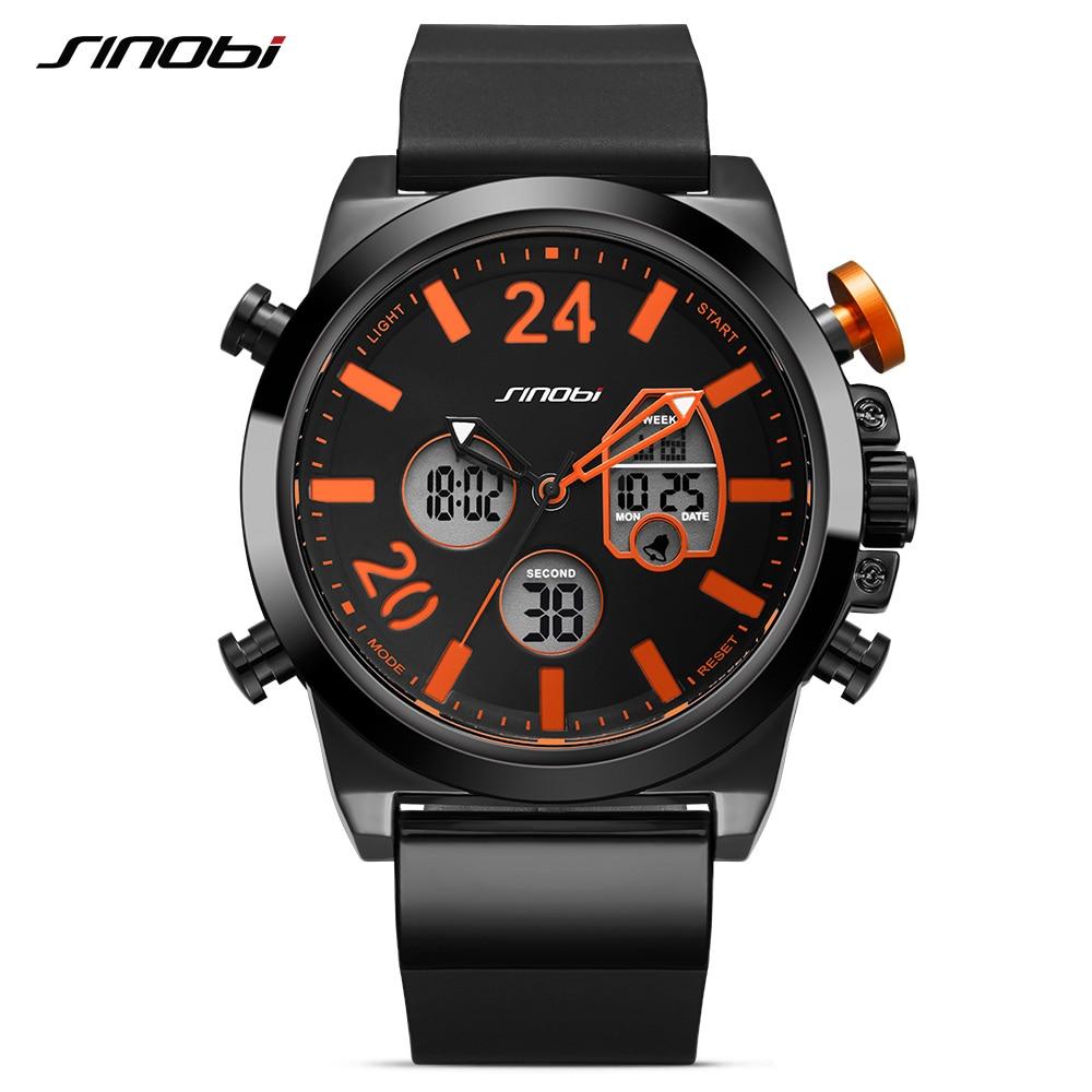 SINOBI Sports Watches Digital Chronograph Military Waterproof Fashion Mens Casual Analog