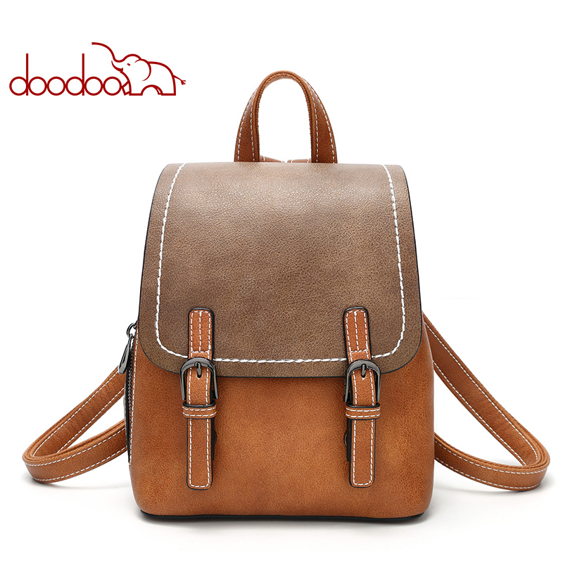 2018 simple Style Backpack Women PU Leather Backpacks For Teenage Girls School Bags Fashion Vintage Solid School Shoulder Bag simple preppy style backpack women pu leather backpacks for teenage girls school bags fashion vintage solid shoulder bag black