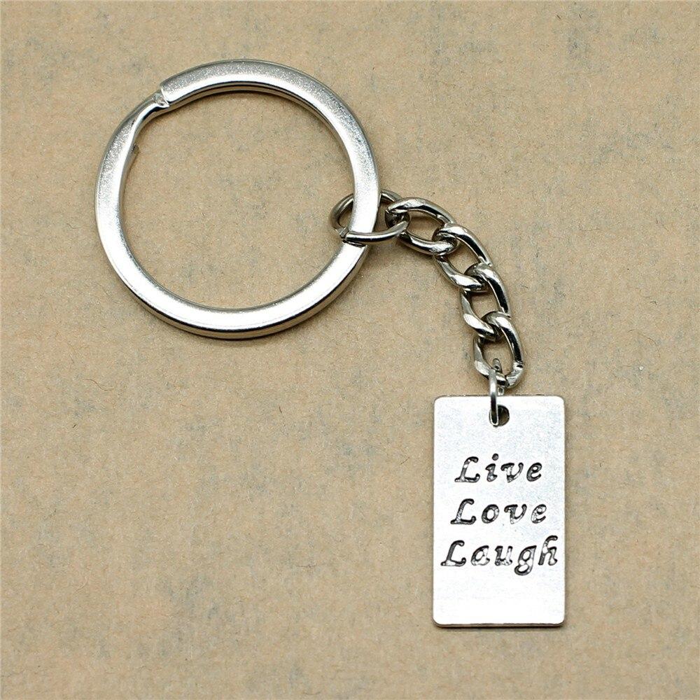 1 Stück Auto Keychain Rechteckige Doppelseitige Live Love Laugh Tag Geburtstag Partei Liefert 22x12mm Anhänger Antike Silber Reinigen Der MundhöHle.