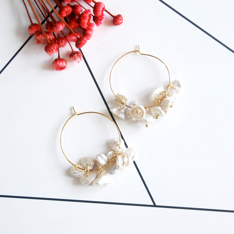 gold fashion jewelry 2018 natural pearl hoop earrings handmade designer for women gift elegant romantic pair of elegant faux white jade hoop earrings for women page 2