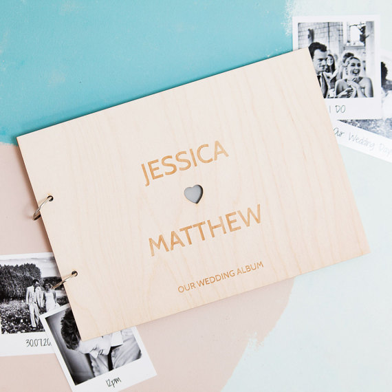 Personalized Heart Couples Wedding Book Wedding Photo Album Wooden Guest Book Engagement Gift Wedding Guest Book Couples Gift