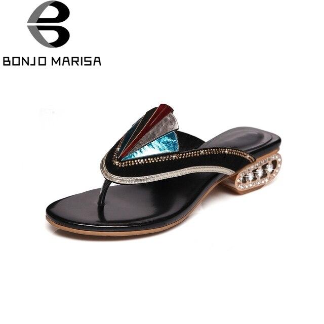 BONJOMARISA חדש אופנה אמיתי עור מוזר סגנון Med עקבים כפכפים נשים נעלי אישה מזדמן מחוץ קיץ נעלי בית