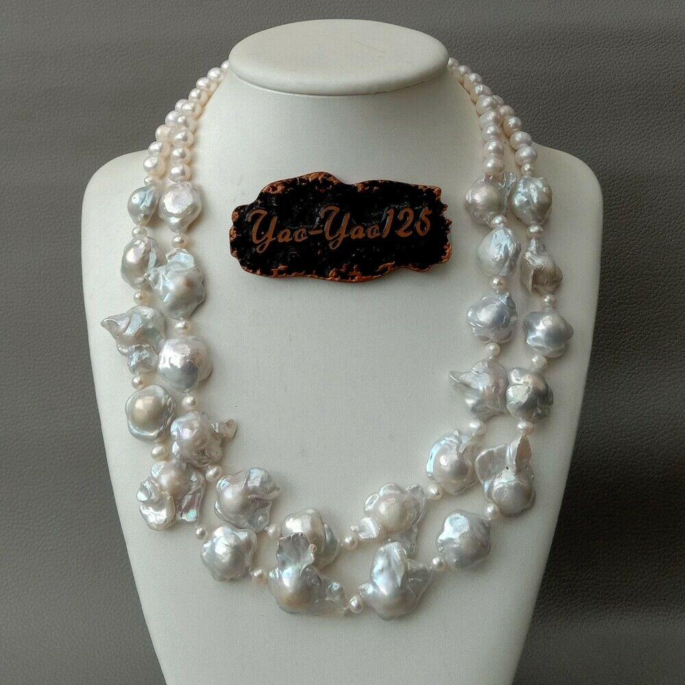 19 2 rows Cultured White Flower Keshi pearl Necklace19 2 rows Cultured White Flower Keshi pearl Necklace