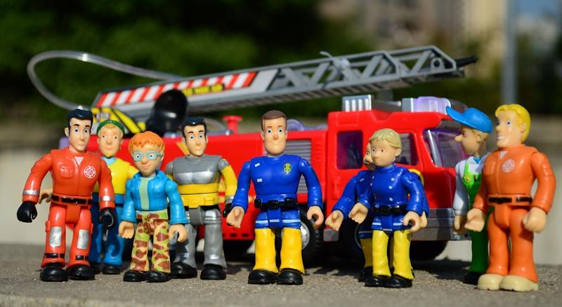 1pcs 7cm Cartoon Fireman Sam Action Figures Dolls PVC Brave Rescue Block Model Toy D11