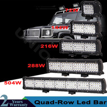 цена на Quad Rows 4-23Inch LED Bar 504W Off Road LED Light Bar for Car Tractor Boat OffRoad 4WD 4x4 Truck SUV ATV Driving Lamp 12V 24V
