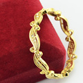 6mm DIA.40mm Baby Gift Cute Yellow Gold Plated Bangles Crystal Closed Bracelets Can't Open