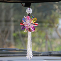 12 Styles Crystal Glass Hanging Crafts Car Rearview Mirror Ornaments Handmade DIY Home Decor Figurines Car Interior Accessories