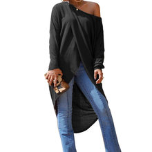 f7acf5604 ZANZEA Casual Long Sleeve Loose Irregular Split Blouse 2018 Spring Fashion  Elegant Women's Ladies Solid One Shoulder Party Shirt