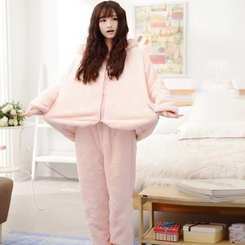 2018 Vintervarme kvinder Pyjamas Fluffy Fleece Onesie Pyjamas Pink - Undertøj - Foto 3